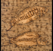 CARP-carved_torched_wood_w_encaustic_wax__30x30_