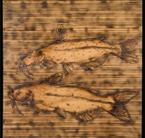 CATFISH-carved_torched_wood_w_encaustic_wax__30x30_