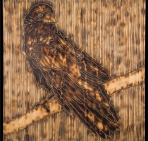CROW-carved_torched_wood_w_encaustic_wax__30x30_